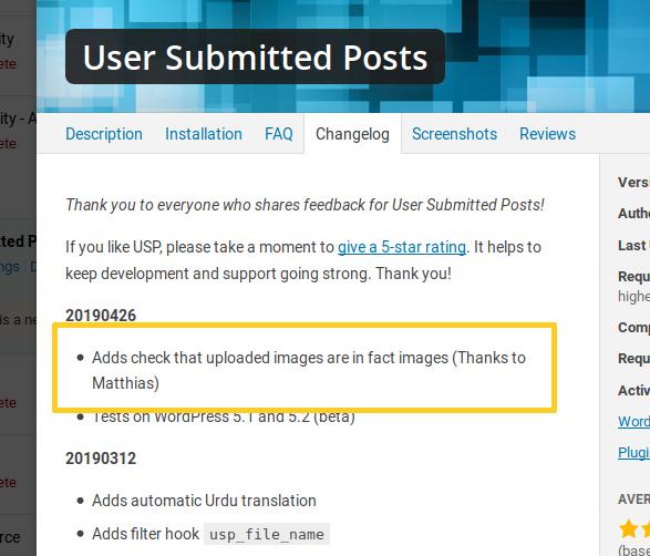 Arbitrary file upload vulnerability in WordPress User